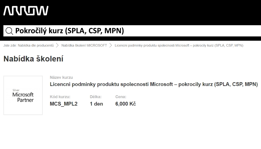 Pokročilý kurz - Licenční podmínky produktů společnosti Microsoft