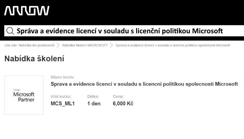 Správa a evidence licencí v souladu s licenční politikou Microsoft